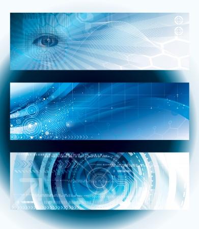 抽象的なテクノロジー web バナーのセットです。