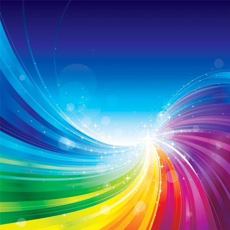 Abstract rainbow colors wave background. Çizim