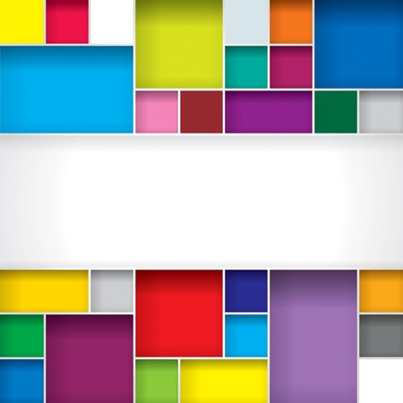 Abstract color boxes background with copy space. Vettoriali