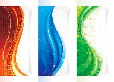 Set of curve elements vertical backgrounds/banners. Vettoriali