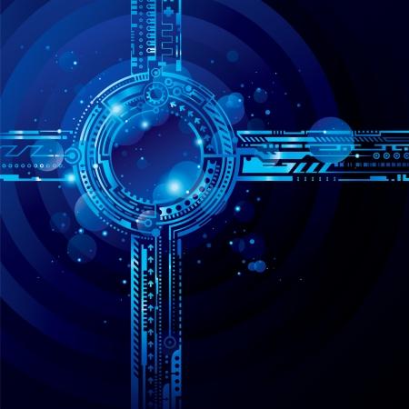 抽象的なハイテク青色の背景に光の効果。  イラスト・ベクター素材