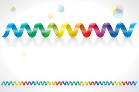 cable telefono: Espiral de colores del arco iris decoración cable.