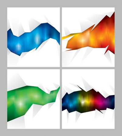 Set of cut out paper with abstract background  Vector