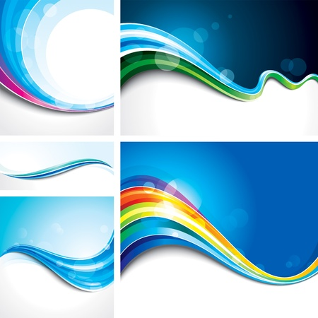 Collection of abstract wave design background.