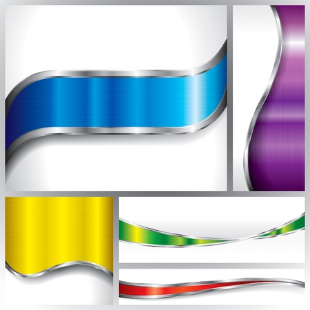 metallic: Collection of metallic banners background