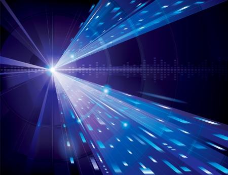 青で抽象的な技術の背景。