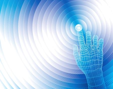 mano touch: Tocco della mano su sfondo astratto. Vettoriali