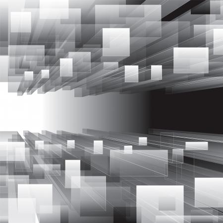 infinito: Abstract fondo de escala de grises perspectiva virtual. Vectores