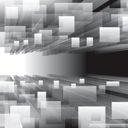 Abstract grayscale virtual perspective background.  Vectores