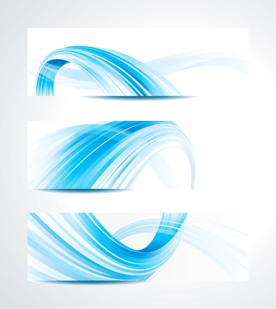 wave: Set of abstract technology header background. Illustration
