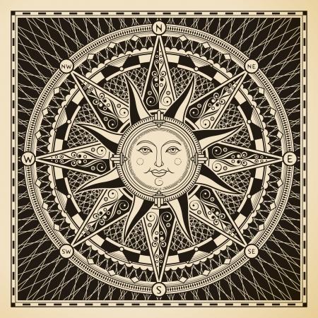 고전적인 포도 수확 태양 나침반 장미
