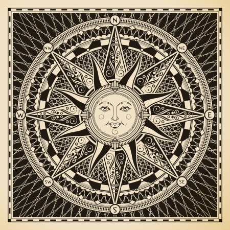 drawing compass: Classic vintage sun compass rose