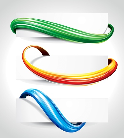 headers: Set of abstract technology curve header background