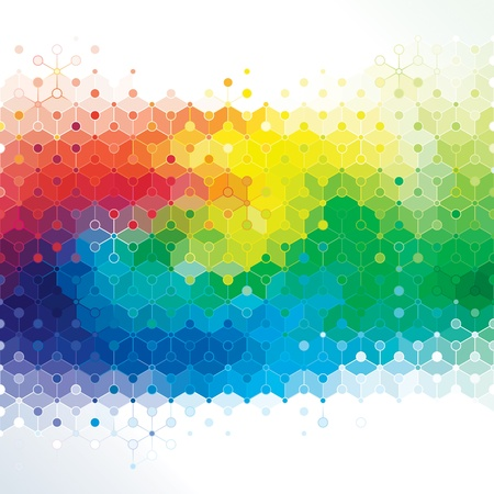 Abstracte kleuren achtergrond van de molecuul structuur van DNA Stock Illustratie
