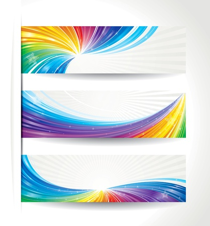 Set of celebration colorful wave backgrounds  Illustration