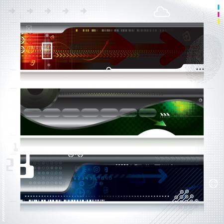 Set van abstracte technologie web banner Stock Illustratie