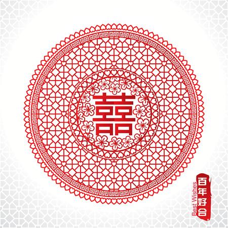 Tradicional símbolo del matrimonio chino de la felicidad doble
