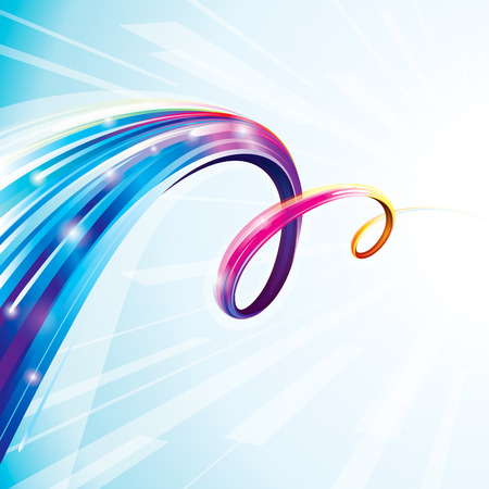 Abstract colorful curve digital technology background