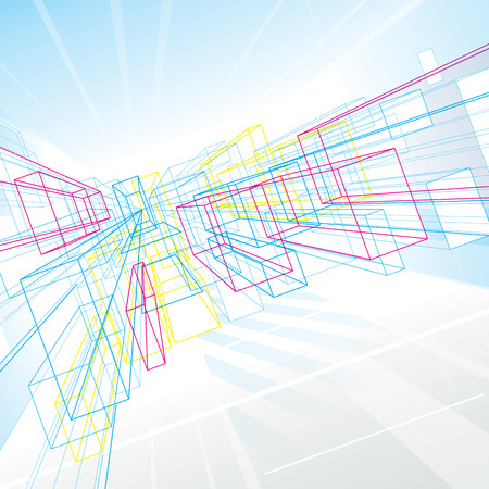 Abstract perspectief lijnen tekenen achtergrond voor architectuur of interieur Stock Illustratie