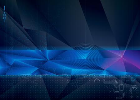 Résumé technologie avec un fond géométrique