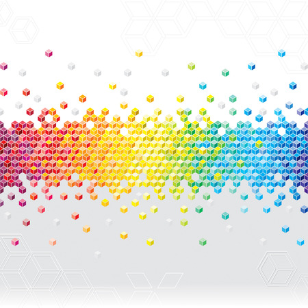 Abstract pixel cubes flash background