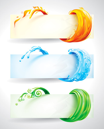 banner effect: Set of fire, water and green elements banner background.