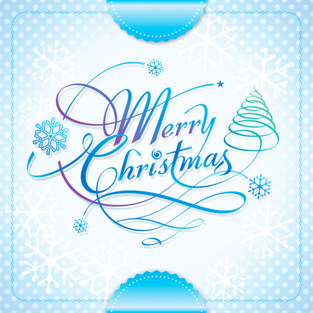 Merry Christmas handwriting calligraphy lettering seasons greeting design.  Vector