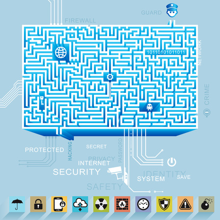 Internet network security and protection icon maze background. Vector