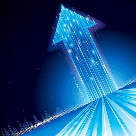 技術: 成長向上的箭頭符號抽象的技術背景。