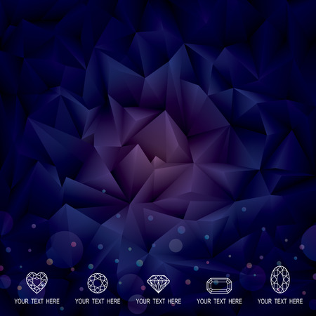 Abstract polygonal gems crystal dark background. Vector