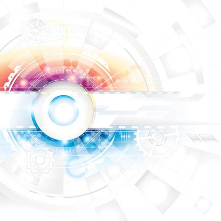 tvůrčí: Abstraktní technologie složení pozadí v modré a červené barvě.