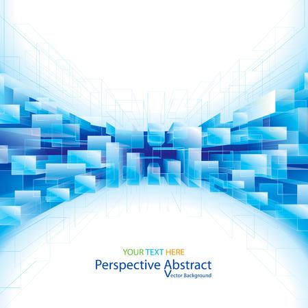 抽象的なブルーの視点構造背景。  イラスト・ベクター素材