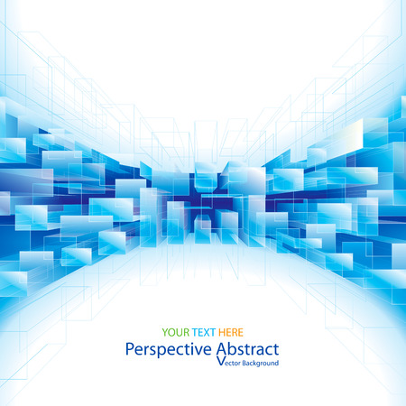 perspektiv: Abstract blue perspective structure background.