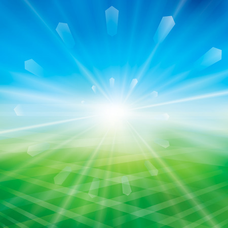 Summer or spring background with glaring sun. Vector