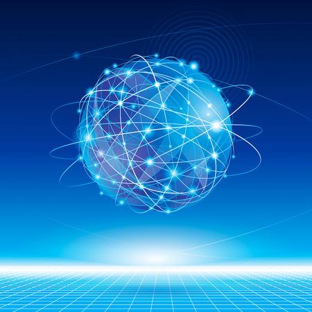 communication: Connexion réseau mondial de fond abstrait. Illustration