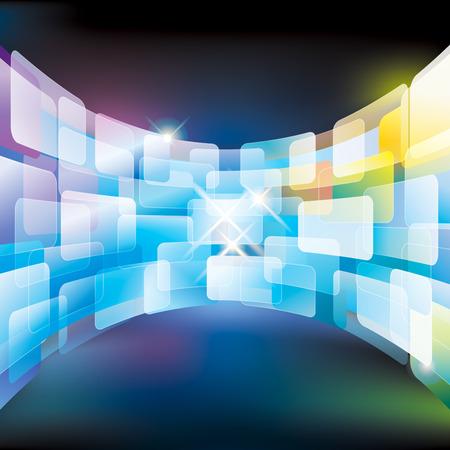 抽象的なマルチ メディア仮想画面の壁。  イラスト・ベクター素材