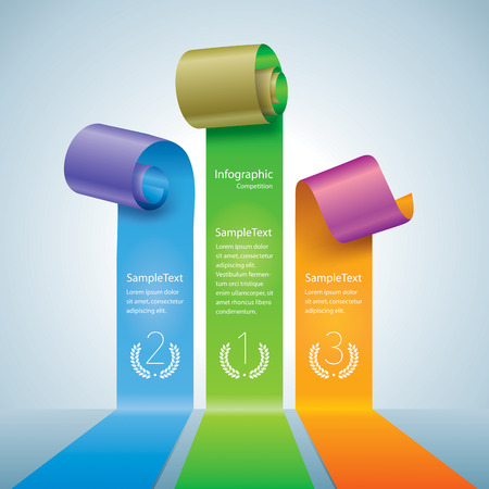 championship: Scroll of colors paper or ribbon. Infographics competition  pedestal concept diagram.