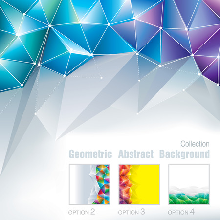 Geometric polygonal pattern abstract background collection. Vettoriali