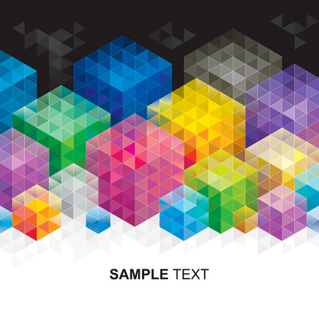 multicolored: Abstract geometric colors cube background. Illustration
