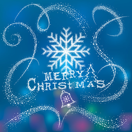 snow background: Christmas snowflake with Magic snow dust tail.