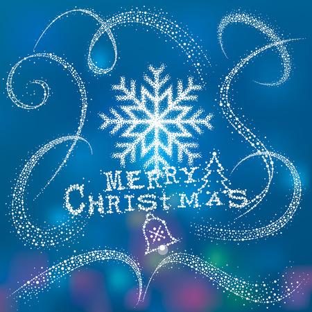 copo de nieve: Copo de nieve de la Navidad con la Magia cola de polvo de nieve. Vectores