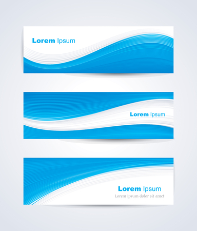 Website banner set with blue white wave pattern.