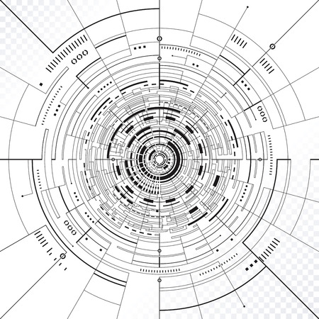 Technology circular structure abstract background.