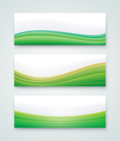 vector element: Abstract header collection, green white wave banners.