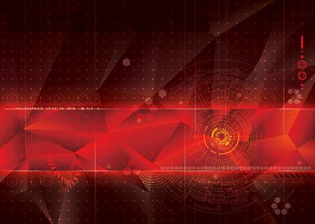 抽象的な技術赤背景デザイン。