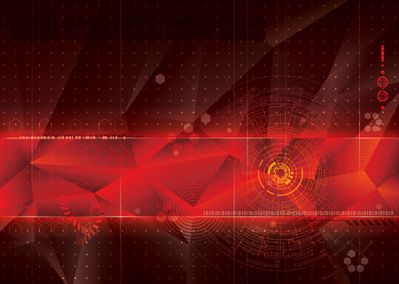Abstract technology red background design.