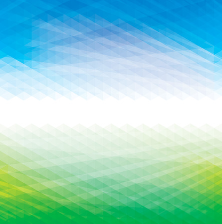 Abstract perspective geometric blue and green background. Stock Illustratie