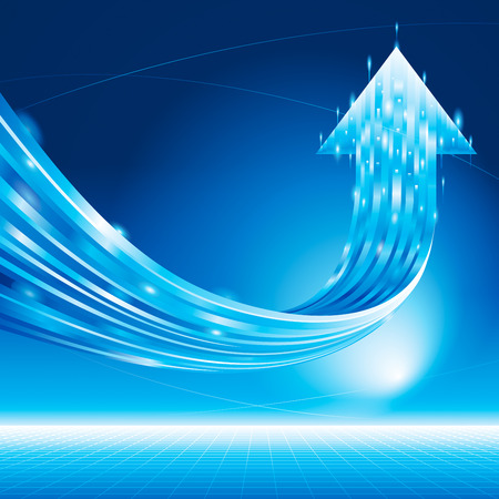 upward movements: Growth arrow sign abstract technology blue background.