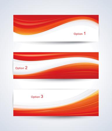 Website banner set met rode golfpatroon. Stock Illustratie
