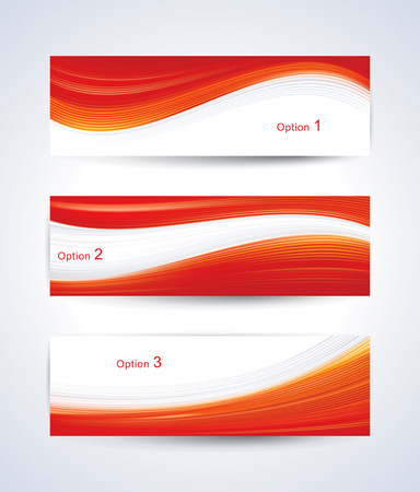 vectors: Website banner set with red wave pattern.